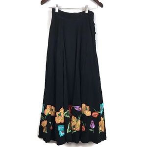 Soft Surroundings Vintage Embroidered Maxi Skirt